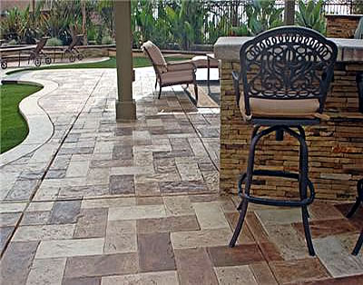 Backyard Cement Patio Ideas decorative resurfaced concrete patio with bench and lights mauldin south carolina Backyard Concrete Patio Images Backyard Design
